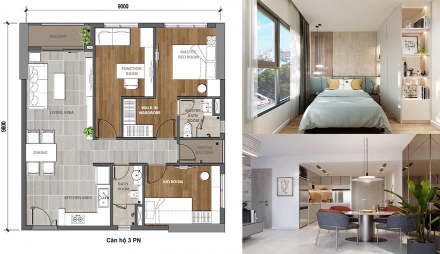 thiết kế mặt bằng căn hộ 3 phòng ngủ dự án aio city hoa lâm