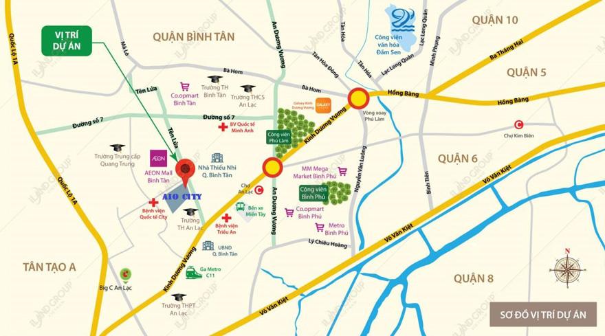 vị trí dự án căn hộ chung cư aio city bình tân
