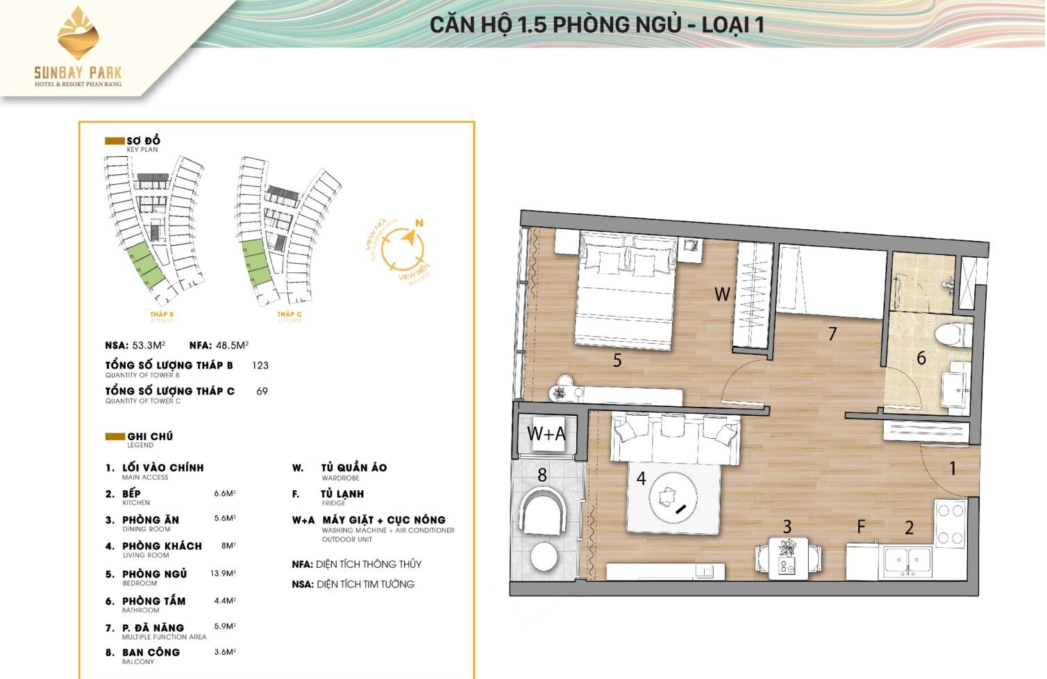 căn hộ 1.5 phòng ngủ sunbay park