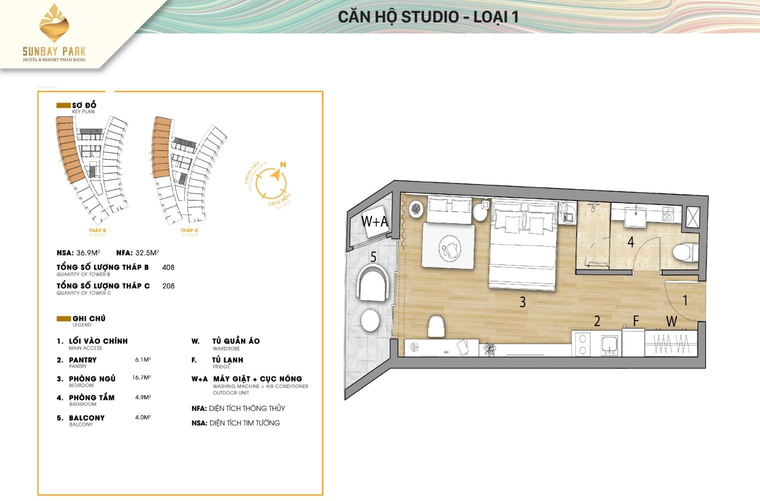 căn hộ studio sunbay park