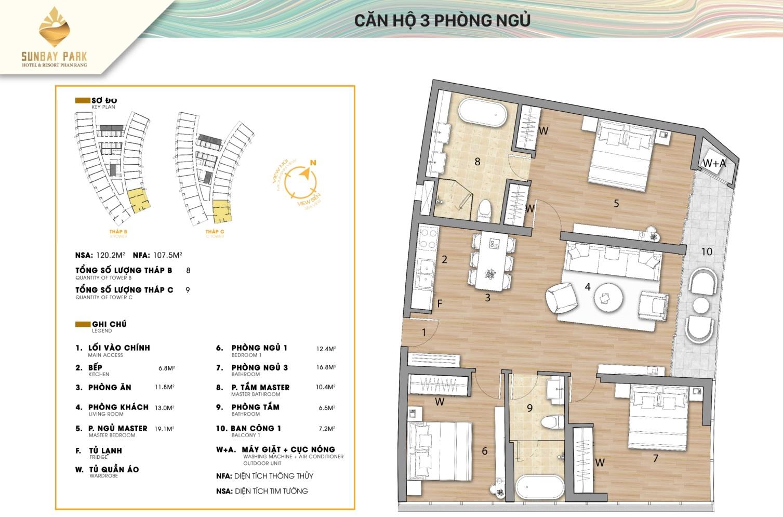 dự án sunbay park căn hộ 3 phòng ngủ
