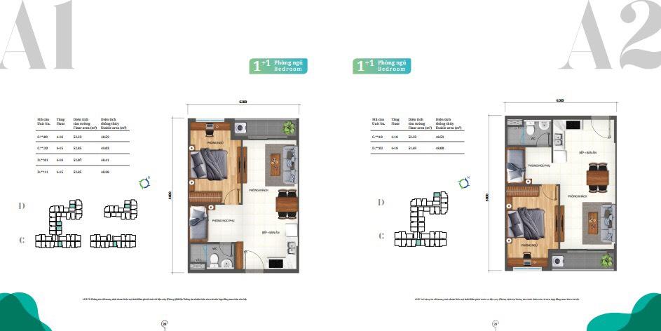 thiết kế căn hộ 1 PN lovera Park