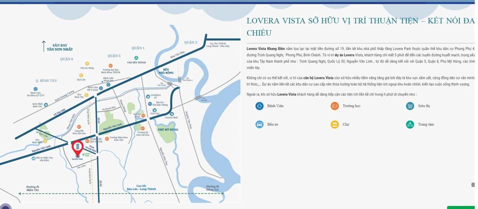 vị trí dự án lovera vista binh chanh